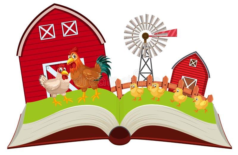 Los pollos en granja surgen el libro libre illustration