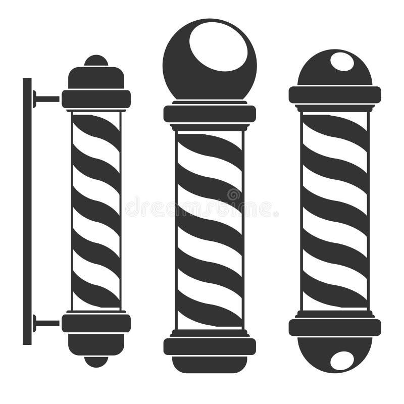 Los polos de la peluquería de caballeros siluetean iconos con las rayas aisladas en el fondo blanco Muestra de la barbería, símbo libre illustration
