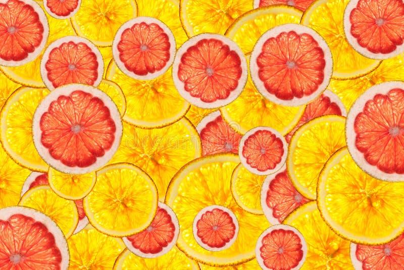 Los pomelos rosados y las naranjas mezclan backgro cortado colorido de las frutas fotografía de archivo