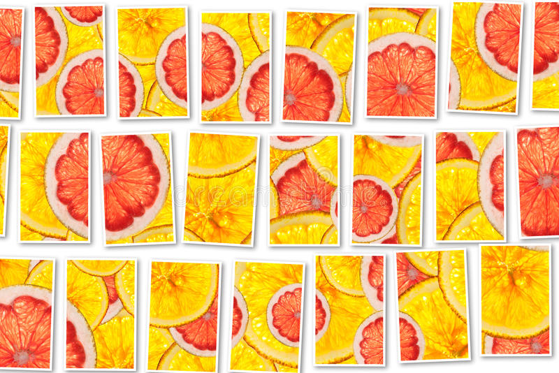 Los pomelos rosados y las naranjas mezclan el collage cortado colorido de las frutas imagen de archivo