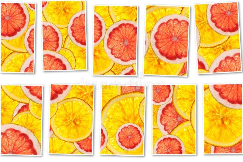 Los pomelos rosados y las naranjas mezclan el collage cortado colorido de las frutas imagen de archivo libre de regalías
