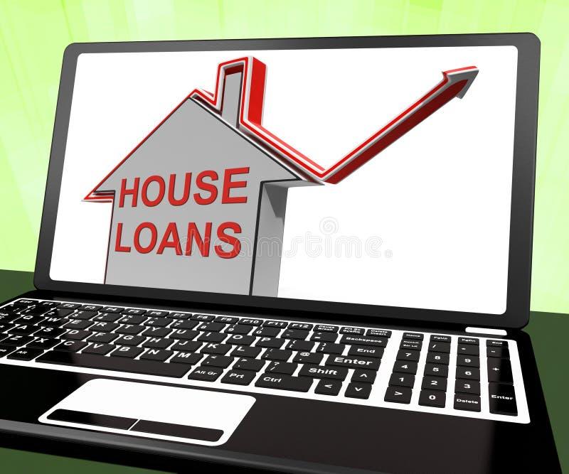 Los préstamos de la casa se dirigen el préstamo y la hipoteca de los medios del ordenador portátil stock de ilustración
