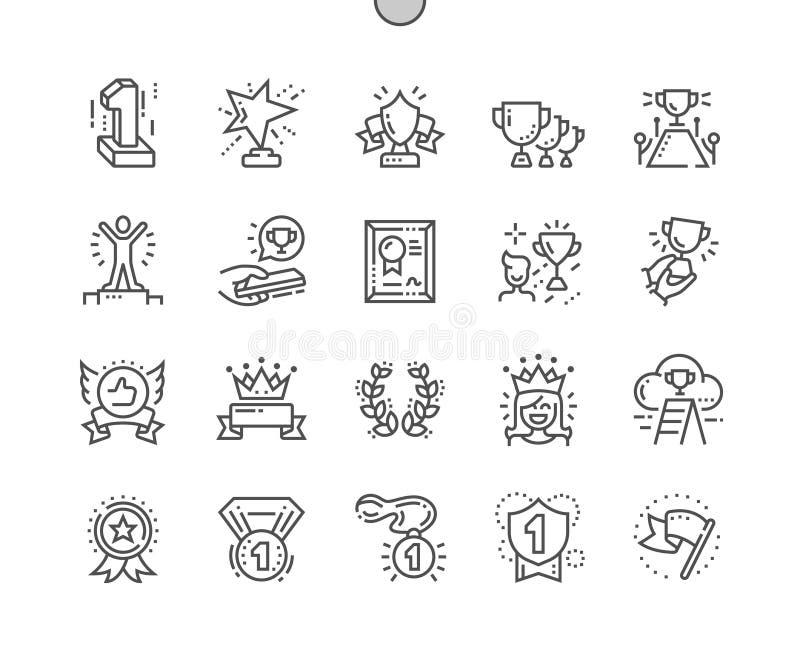 Los premios Bien-hicieron la línea fina rejilla 2x de los iconos 30 del vector a mano perfecto del pixel para los gráficos y Apps ilustración del vector