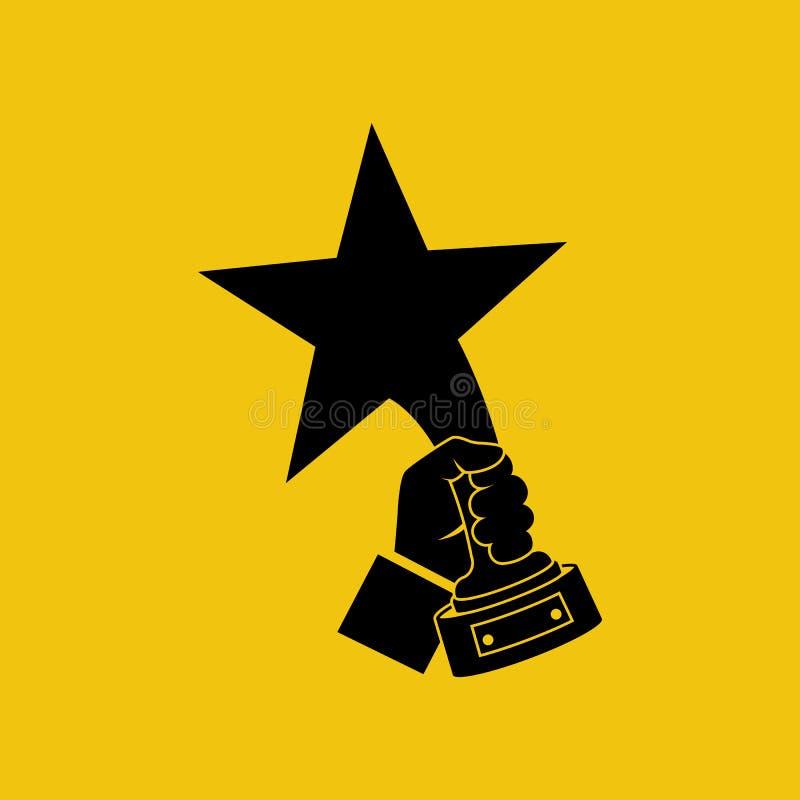Los premios de las estrellas llevan a cabo el icono disponible del negro del ganador libre illustration
