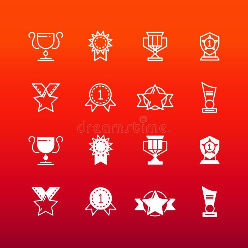 Los premios, el trofeo y los premios alinean y resumen iconos ilustración del vector