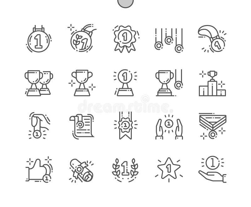 Los premios y los trofeos Bien-hicieron la línea fina rejilla 2x de los iconos 30 del vector a mano perfecto del pixel para los g stock de ilustración