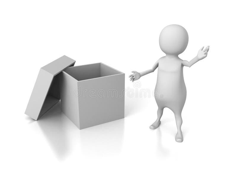 Los presentes blancos del hombre 3d vacian el envase abierto de la caja de la cubierta stock de ilustración