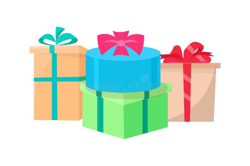 Los presentes llenos en vector de las cajas de regalo aislaron el icono libre illustration