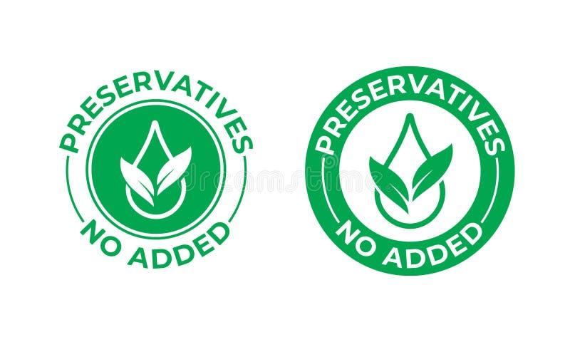 Los preservativos añadieron no el icono del vector Hoja verde y descenso, sello libre del paquete de la comida de los preservativ stock de ilustración