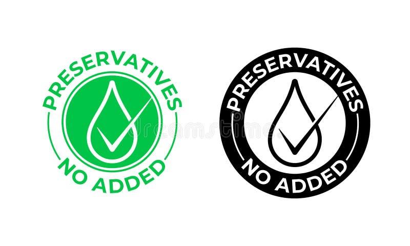 Los preservativos añadieron no el icono del vector Preservativos libres, sello del paquete de la comida, descenso verde ilustración del vector
