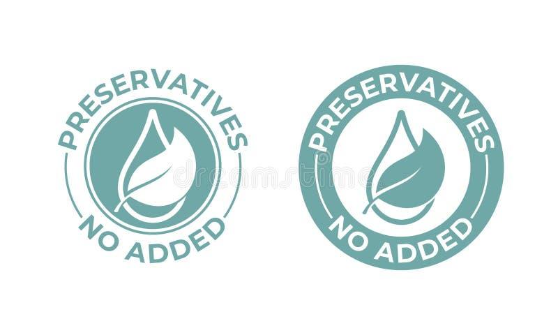 Los preservativos añadieron no la hoja del vector y el icono del descenso Sello natural del paquete de la comida, sello libre de  ilustración del vector