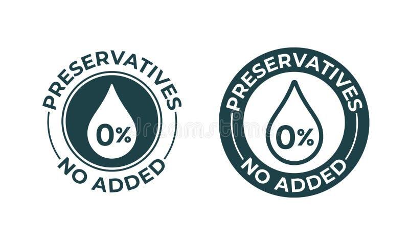 Los preservativos añadieron no vector icono del 0 por ciento Sello natural del paquete de la comida, sello libre de los preservat stock de ilustración