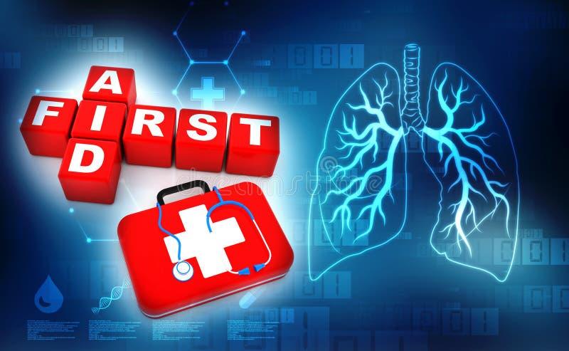 Los primeros auxilios cubican el equipo del crucigrama 3d, del estetoscopio y de primeros auxilios en fondo médico de la tecnolog stock de ilustración