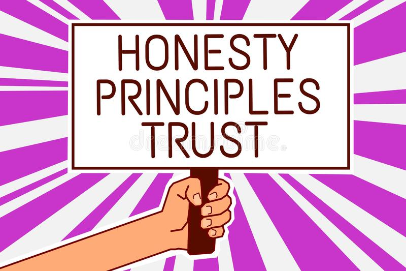 Los principios de la honradez de la escritura del texto de la escritura confían en el significado del concepto que cree alguien l ilustración del vector