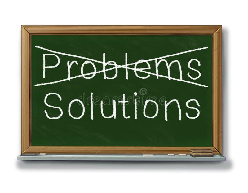 Los problemas de las soluciones cruzaron hacia fuera la tiza negra i de la tarjeta stock de ilustración