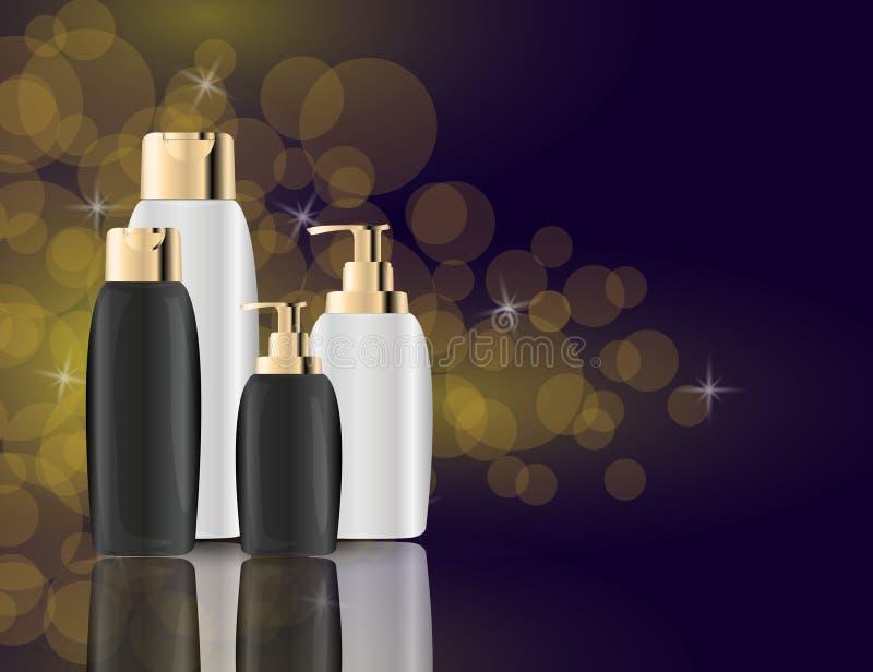 Los productos atractivos del cuidado del cabello ennegrecen los paquetes en el fondo chispeante de los efectos Ejemplo realista d libre illustration