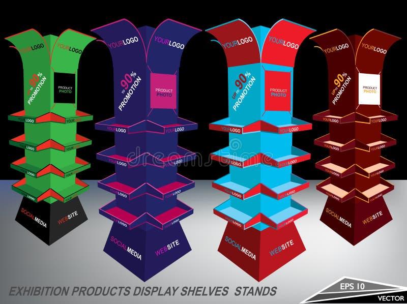 Los productos coloreados multi de la exposición del espacio en blanco exhiben soportes de los estantes libre illustration