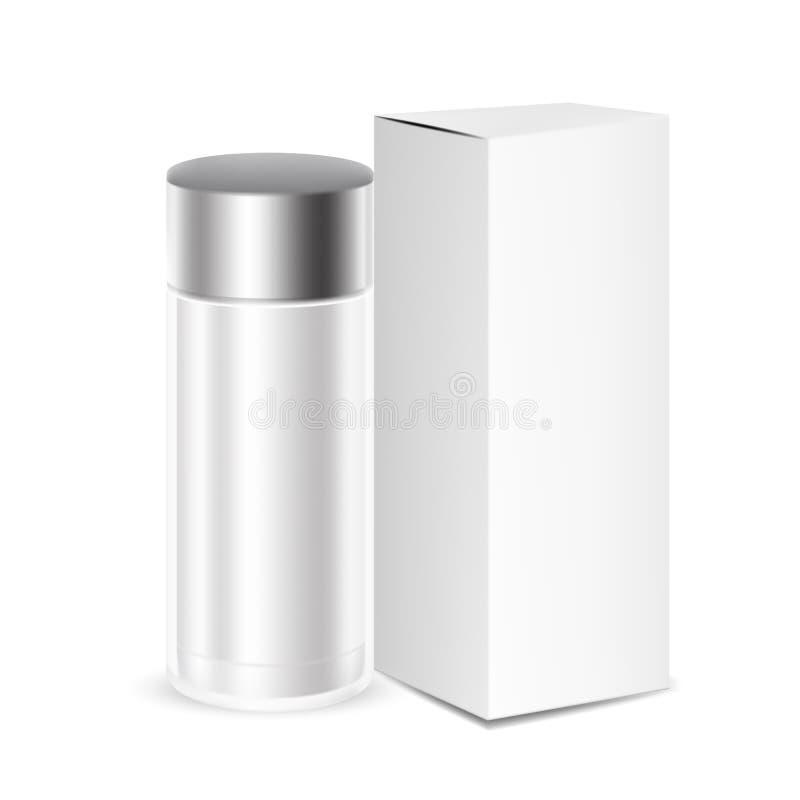Los productos de belleza cosméticos de la botella del vidrio oscuro con la tapa negra de la bomba en blanco aislaron el fondo Cos libre illustration