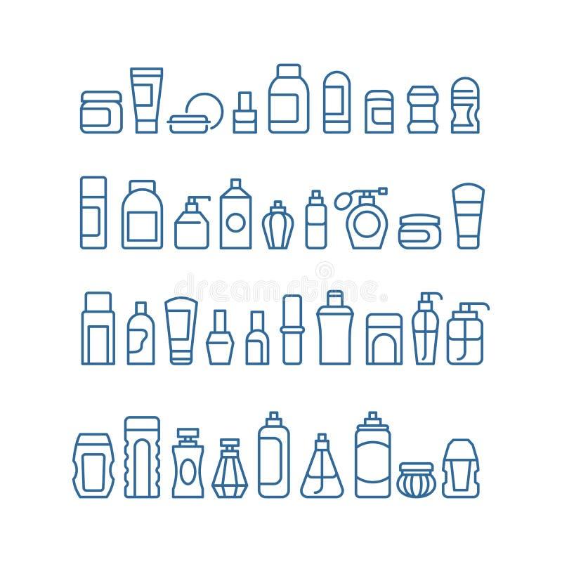 Los productos de belleza de la mujer, los cosméticos, el cuidado de piel del cuerpo y el maquillaje empaquetan los iconos del vec ilustración del vector