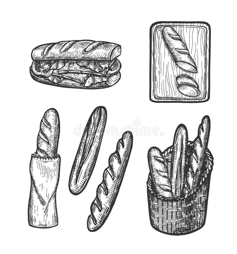 Los productos de la tienda de la panadería en paquete, cortaron y bocadillo stock de ilustración