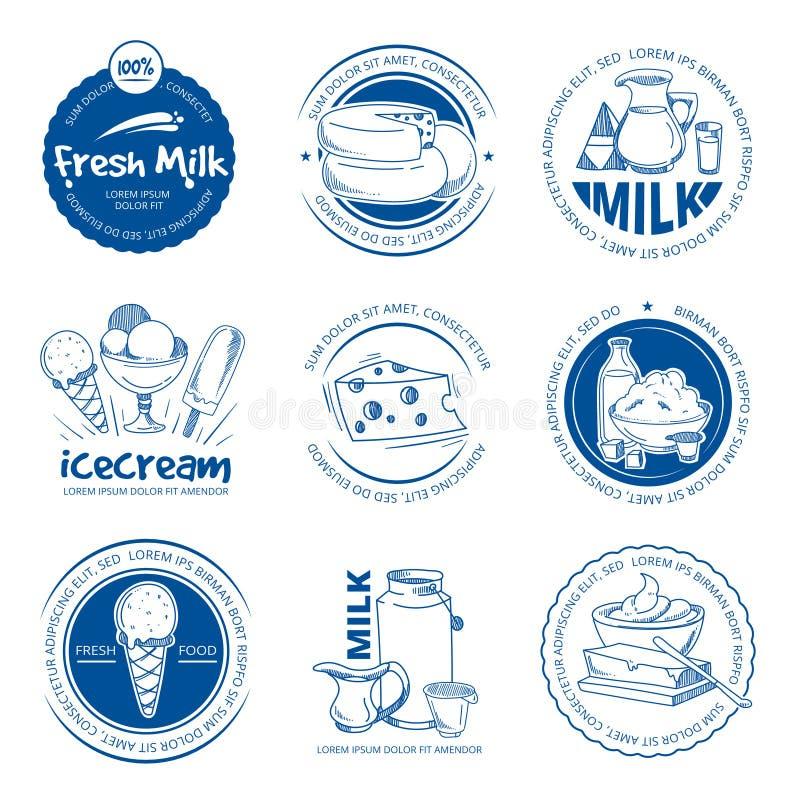 Los productos lácteos naturales, cultivan etiquetas y logotipos dibujados mano fresca del vector de la leche ilustración del vector