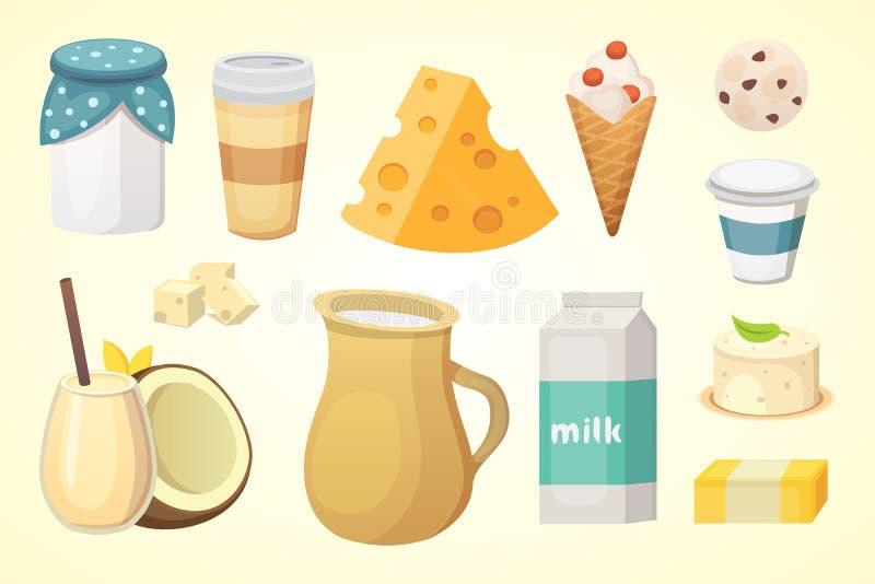 Los productos lácteos orgánicos frescos fijaron con queso, mantequilla, café, crema agria y helado stock de ilustración