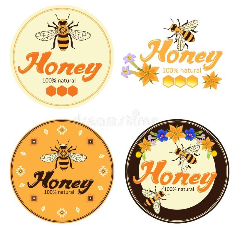 Los productos orgánicos naturales de la miel de la abeja colorearon el sistema de etiqueta Plantillas de la etiqueta de la miel stock de ilustración