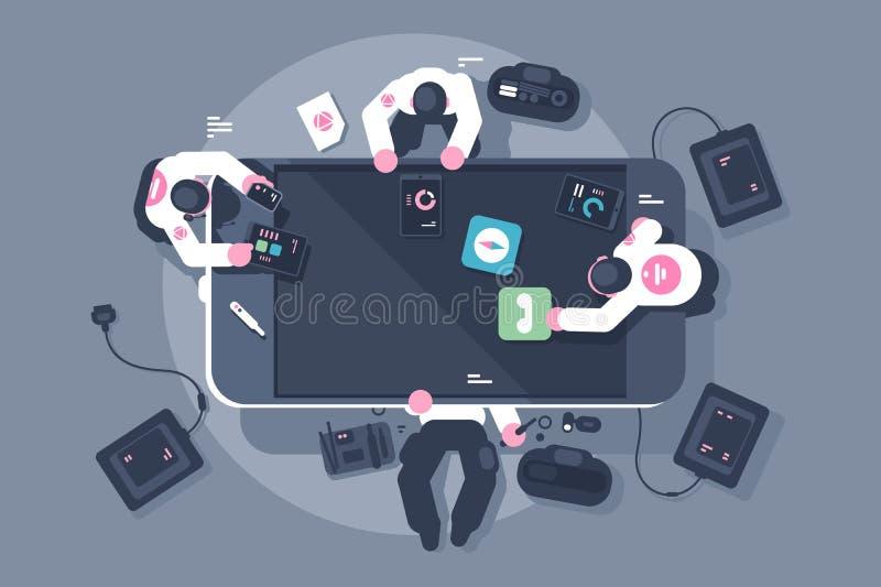 Los programadores combinan el desarrollo móvil del interfaz del app stock de ilustración