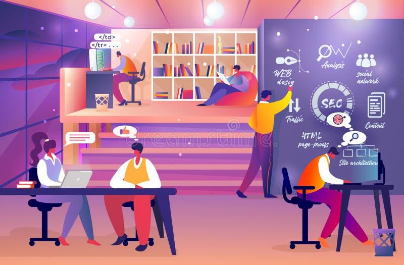 Los promotores de web combinan en el trabajo Grupo de lanzamiento en línea ilustración del vector