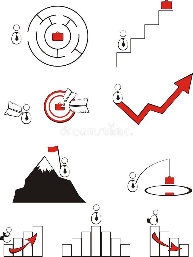 Los propósitos del logro del éxito en asunto ilustración del vector