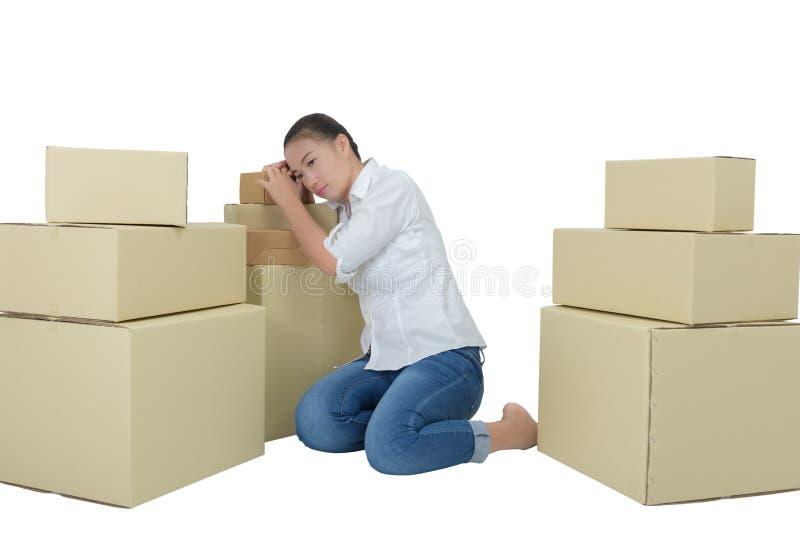 Los propietarios de negocio tienen dolores de cabeza debido a problemas del producto foto de archivo
