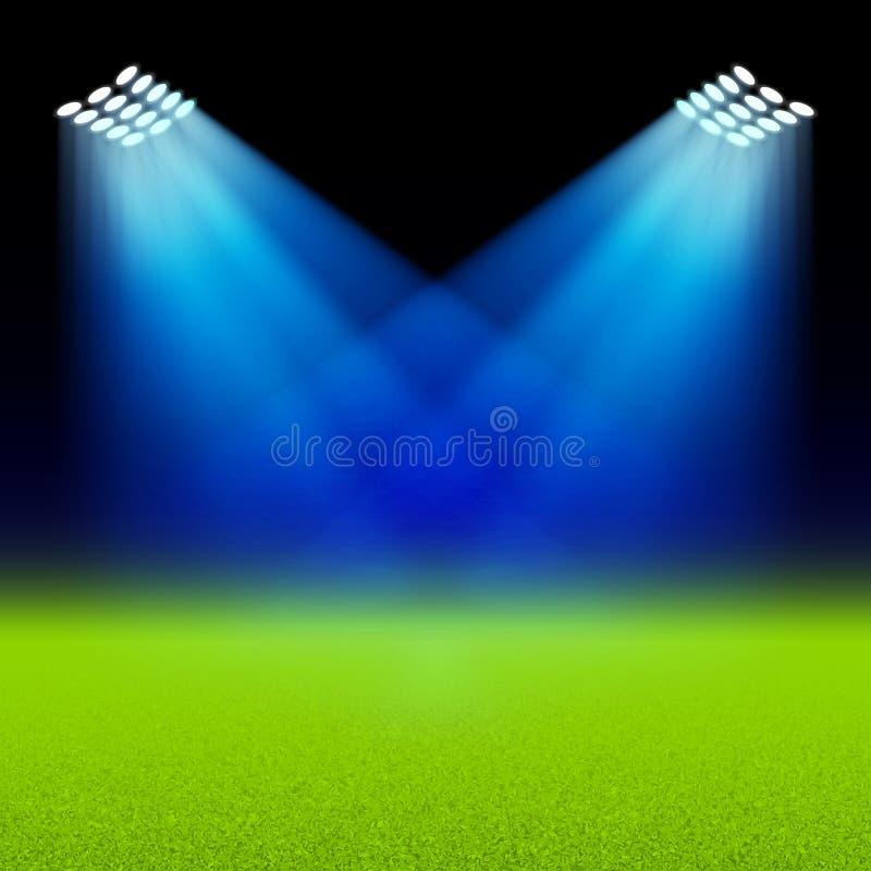 Los proyectores brillantes iluminaron el estadio verde del campo stock de ilustración