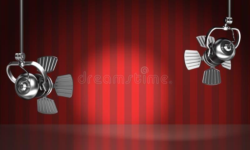 Los proyectores iluminan la escena roja stock de ilustración