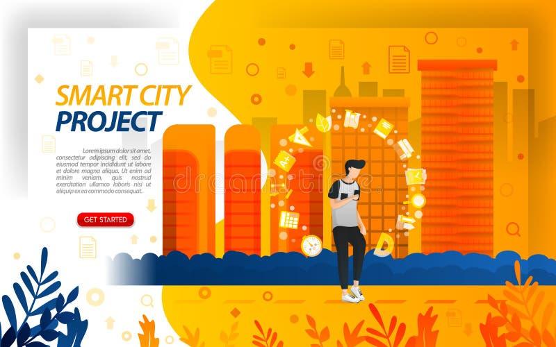Los proyectos del gobierno para la ciudad elegante, hacen que la ciudad se convierte en Internet de cosas, ilustration de IoT del stock de ilustración