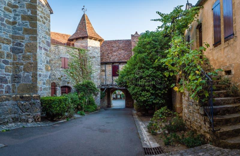 Los pueblos más hermosos de Loubressac de Francia en el departamento de la porción en Francia fotografía de archivo libre de regalías