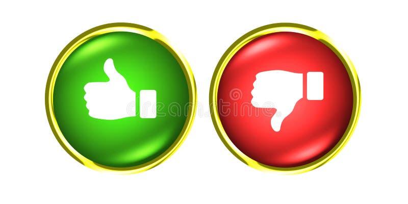 Los pulgares arriba y abajo del oro abotonan como verde rojo de la aversión libre illustration
