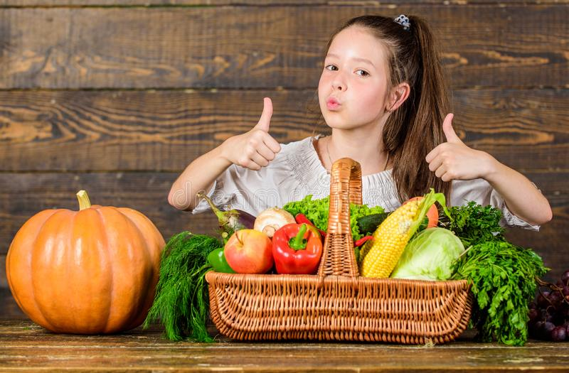 Los pulgares de la demostración del niño para arriba celebran la cesta de las verduras del día de fiesta de la cosecha Granjero d fotografía de archivo libre de regalías