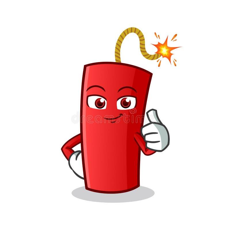 Los pulgares de la dinamita suben el ejemplo de la historieta del vector de la mascota stock de ilustración