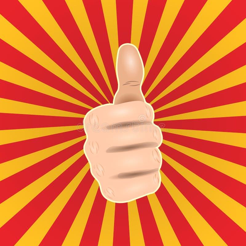 Los pulgares del arte pop encima de la mano tienen gusto Buen gesto de mano, ejemplo cómico del vector del estilo del icono ACEPT stock de ilustración