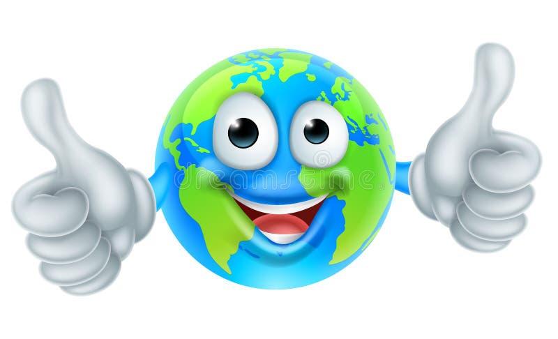 Los pulgares del Día de la Tierra del mundo del personaje de dibujos animados suben la mascota ilustración del vector