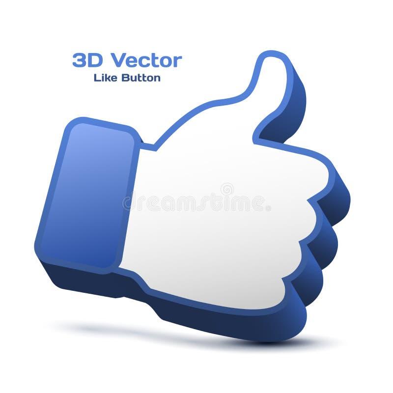 Los pulgares para arriba firman adentro el azul ilustración del vector