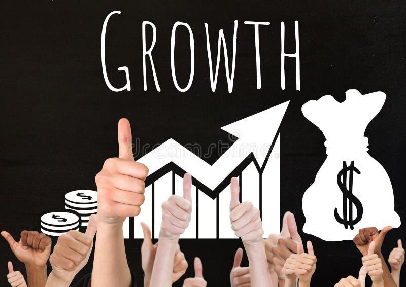 Los pulgares suben crecimiento stock de ilustración