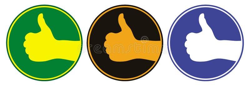 Los pulgares suben el emblema. Vector stock de ilustración