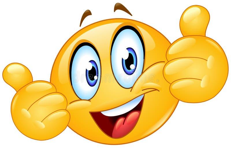 Los pulgares suben el Emoticon stock de ilustración