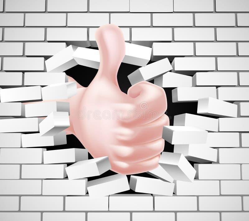 Los pulgares suben la mano que rompe la pared libre illustration