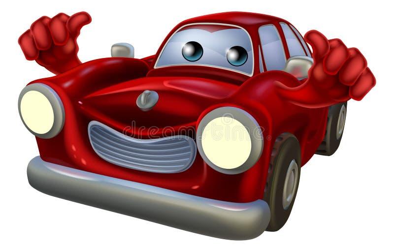 Los pulgares suben la mascota del coche de la historieta ilustración del vector
