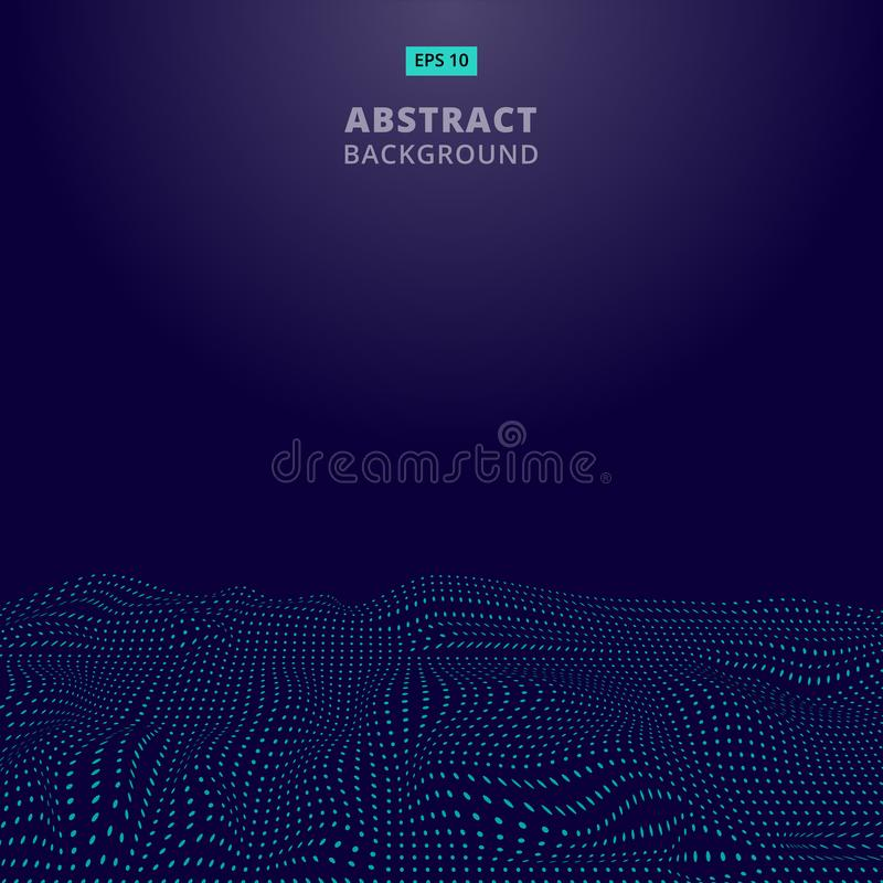 Los puntos azules digitales abstractos agitan con las partículas que fluyen Cibernético o stock de ilustración