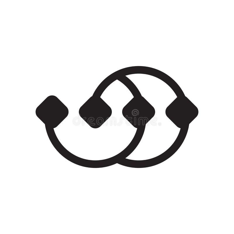 Los puntos conectaron la muestra y el símbolo del vector del icono de la carta en w stock de ilustración