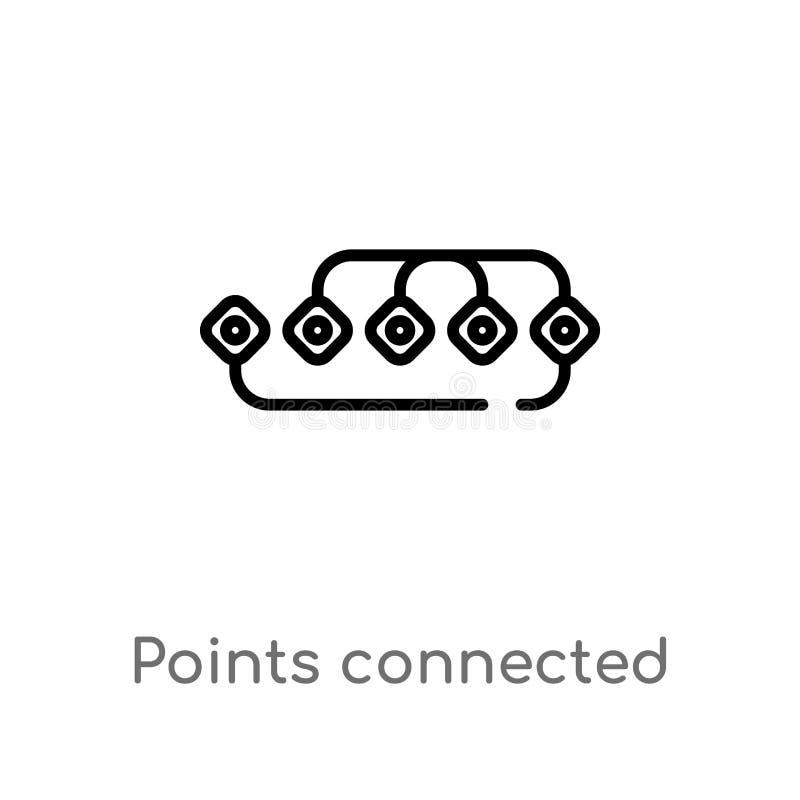 los puntos del esquema conectaron el icono del vector de la carta línea simple negra aislada ejemplo del elemento del concepto de stock de ilustración
