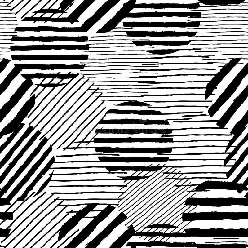 Los puntos irregulares cepillan el modelo de los movimientos Líneas pintadas exhaustas de la mano inconsútil libre illustration